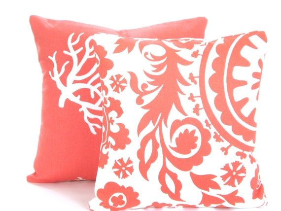 Coral Pillow Covers Decorative Throw Pillows Cushion Covers Etsy Magnificent Etsy Decorative Throw Pillows
