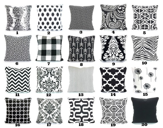 Black White Pillow Covers Decorative Throw Pillows Cushions Etsy