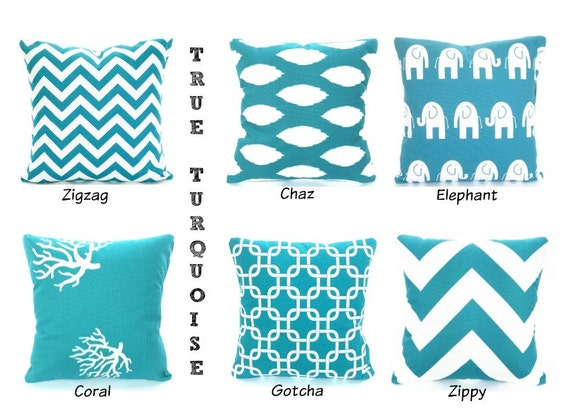 Turquoise Pillows Decorative Throw Pillow Cushion Covers Etsy Interesting Throw Pillow Covers Etsy