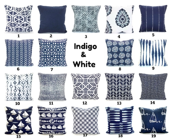 Magnificent Indigo Navy White Pillow Covers Decorative Throw Pillows Cushions Vintage Indigo Light Blue White Cotton Couch Bed All Sizes Mix Match Creativecarmelina Interior Chair Design Creativecarmelinacom