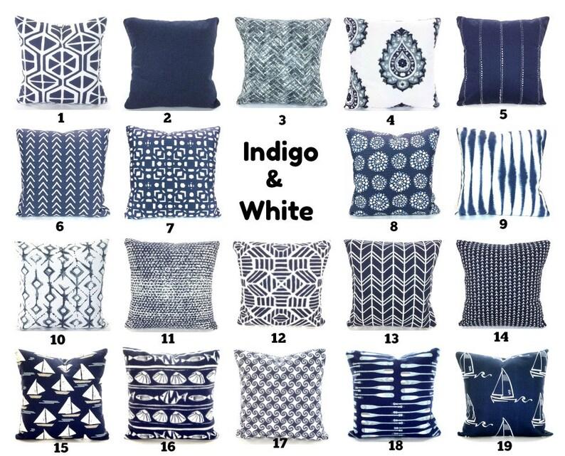 Indigo Navy White Throw Pillow Covers Decorative Pillows Etsy