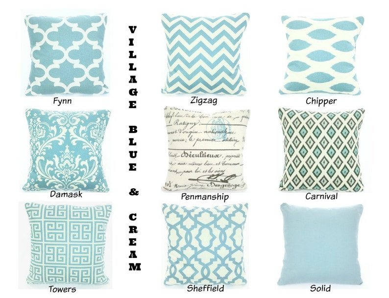 Blue Throw Pillow Covers Blue Pillows Cushions Village Blue Cream Chevron Ikat Damask French Script Couch One Or More All Sizes