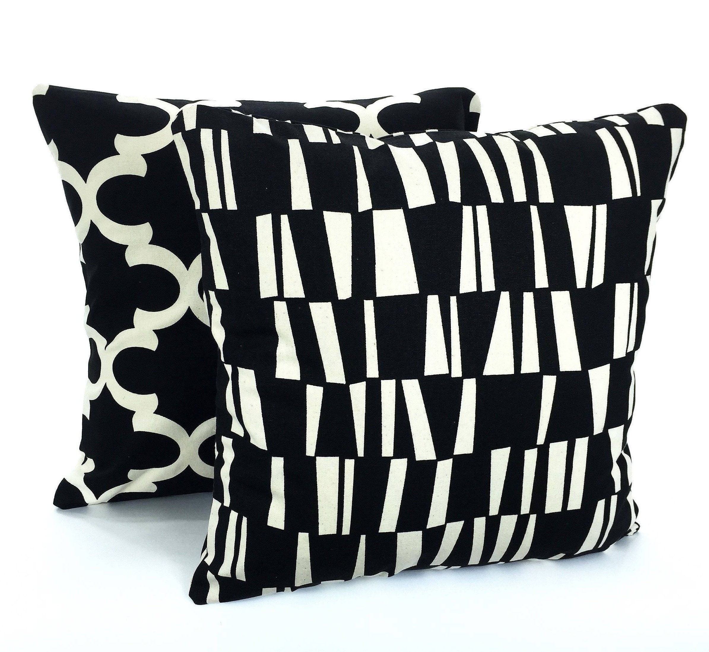 Decorative Pillow Covers Black Cream Throw Pillows Cushions Black Cream Moroccan Tile Geometric Set Of Two Various Sizes
