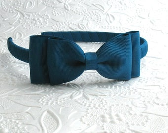 Teal Blue Girls Bow Headband ~ Fits Toddlers, Big Girls, Adults