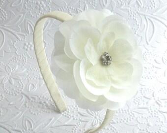 Off White Rhinestone Flower Headband, Flower Girl Headband, Elegant Toddler ~ Girls Headband