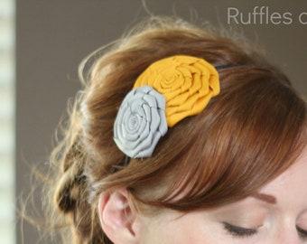 Mustard and Grey Folded Rose Headband