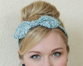 Headband Blue Bird Hair Accessories Womens Headband with Bow, Pin Up 50s Hair, Headband Fabric Headband Adult Headband Scarf Headband