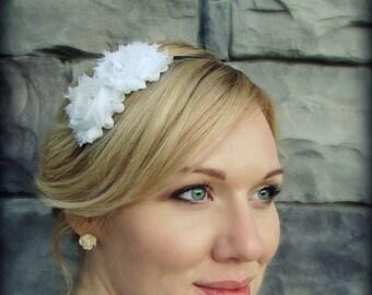 White Headband for Adults-Shabby Chic Headband for Women and Girls