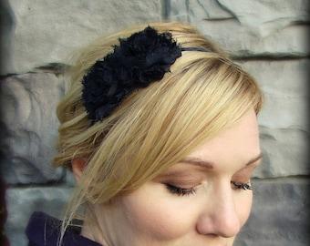 Headbands for Women, Black Flower Headband, Shabby Chic Double Flower for Women and Girls