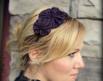 Fabric Flower Headband, Deep Eggplant Rosette Trio for Adults and Girls