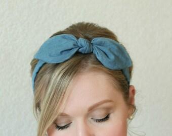 Adult Headband Chambray Bow Headband Hair Accessories Womens Headband Blue Headband Fabric Headband Scarf Headband Denim Headband