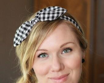 Buffalo Check Bow Headband Hair Accessories Womens Headband Gingham Headband Fabric Headband Adult Headband  Scarf Headband Black Gingham