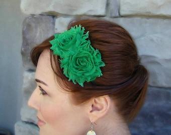 Green Shabby Flower Headband for Women and Girls