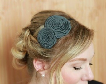 Handmade Headband Flower, Charcoal Gray Hairband,  Gray Headband for Women