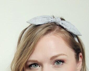 Gray Bow Headband Hair Accessories Womens Headband Gray and White Headband Fabric Headband Adult Headband Scarf Headband