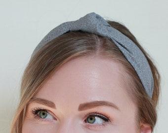 Gray Animal Print Headband, Knotted Headband for Women, Top Knot Headband for Adults, Headband with Knot, Turban Headband