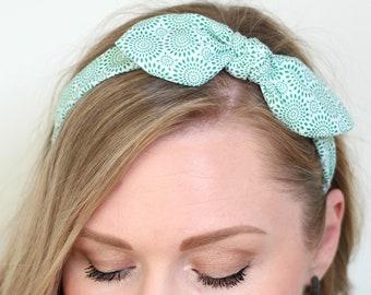 Top Knot Headband, Green Headband, Knotted Headband, Headscarf, Headwrap, Bow Headband, Scarf Headband, St. Patrick's Day