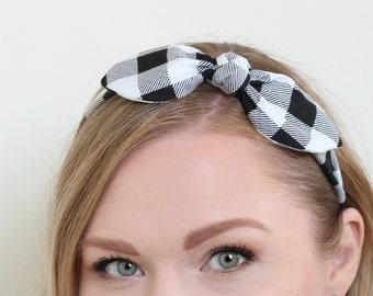 Large Buffalo Check Bow Headband Hair Accessories Womens Headband Gingham Headband Fabric Headband Adult Headband