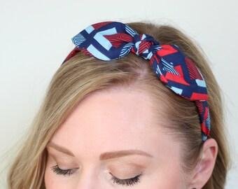 Americana Bow Headband, Red and Blue Headband, Geometric Print Bow, Mod Headband