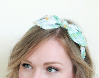 Headband for Women, Rockabilly Headband, Abstract Print, Geometric Print Headband, Scarf Headband, Bow Headband, Pinup Hair, Retro Headband