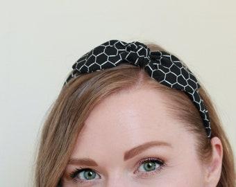 Rockabilly Wired Scarf Headband in Black Geometric, Black Headband for Adults