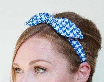 Scarf Headband - Blue and White Houndstooth Headband Vintage Headband 50s Headband