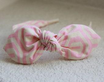 Ballet Pink Knotted Bow Headband for Women Pink and Cream Top Knot Headband Fabric Headband Adult Headband