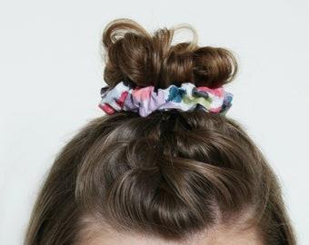 Scrunchie, Gift for Teens, Hair Scrunchie, Floral Print, Floral Scrunchy, Scrunchies for Hair, Scrunchie Hair Tie, Top Knot, Bun Wrap
