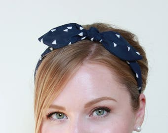 Headband Navy Retro Bow Headband, Pinup Headband, Rockabilly Headband, Women Hair Accessory, Wire Bow Headband