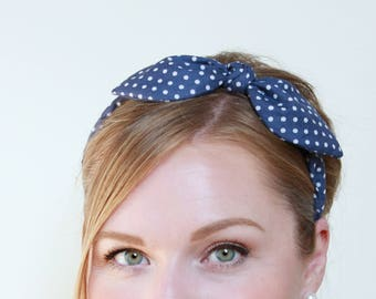 Headband Navy Dot Retro Bow Headband, Pinup Headband, Rockabilly Headband, Women Hair Accessory, Wire Bow Headband
