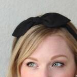 Black Bow Headband Hair Accessories Womens Headband Black Headband Fabric Headband Bow Headband Adult Scarf Headband Alice in Wonderland Bow
