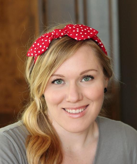 Rosie The Riveter Red Rockabilly Bow Headband Hair Bandana Etsy