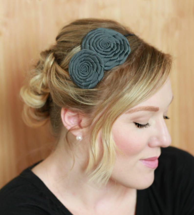 Handmade Headband Flower Charcoal Gray Hairband  Gray image 0