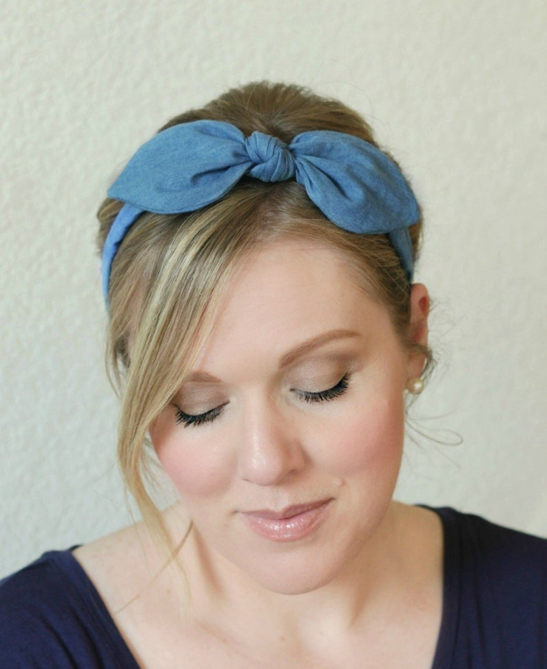 Adult Headband Chambray Bow Headband Hair Accessories Womens image 0
