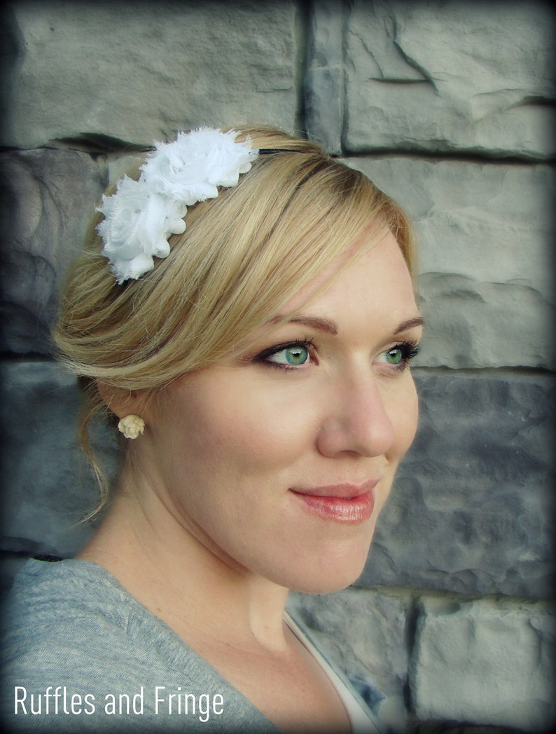 White Headband for Adults-Shabby Chic Headband for Women and image 0