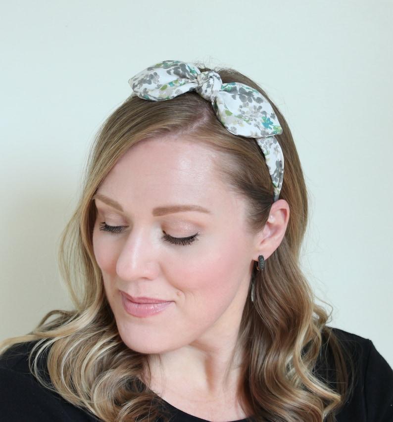 Adult Headband Floral Print Rockabilly Headband Wired image 0