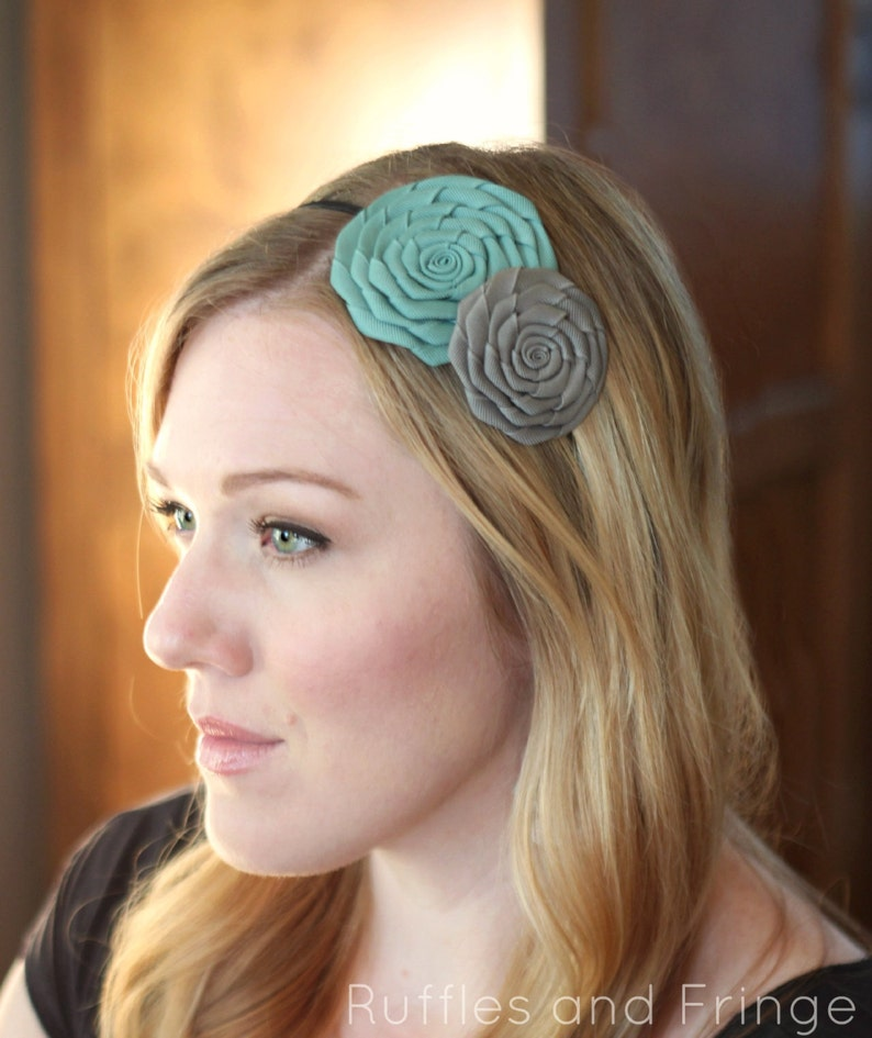 Aqua Blue and Grey Double Folded Flower Headband for Women image 0