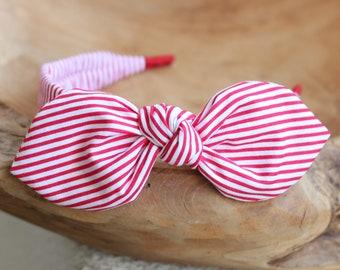 Headband for Women, Red Striped Bow Headband Red Hair Accessory Womens Striped Pattern Headband Fabric Headband