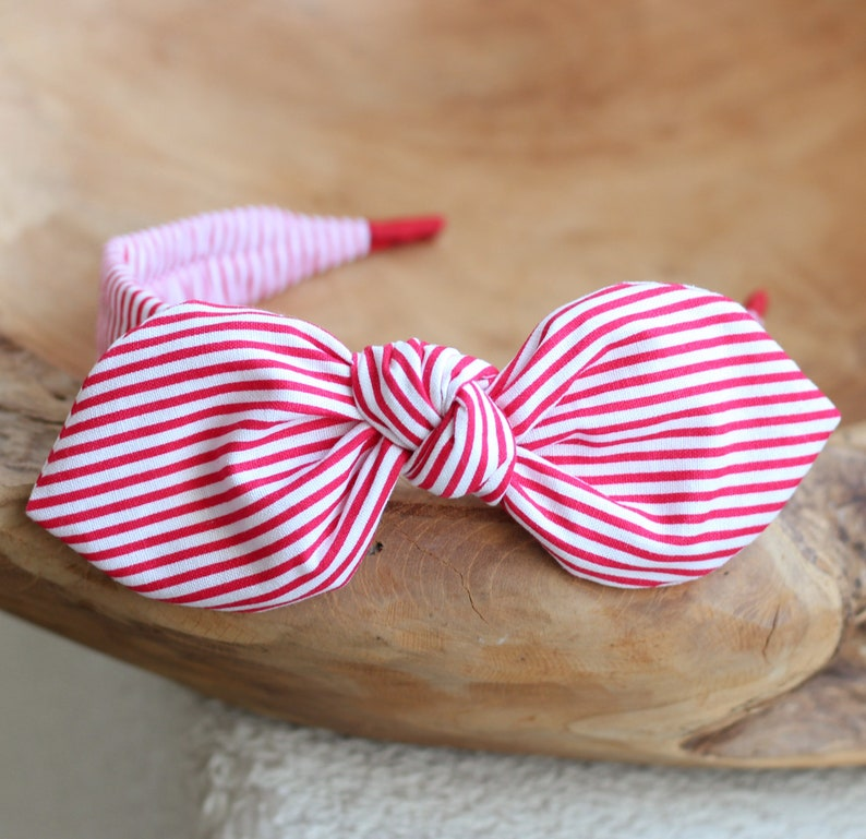 Headband for Women Red Striped Bow Headband Red Hair image 0