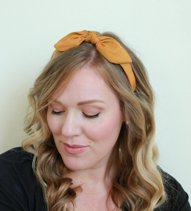 Gold Bow Headband Fabric Headband Adult Headband Mustard image 0