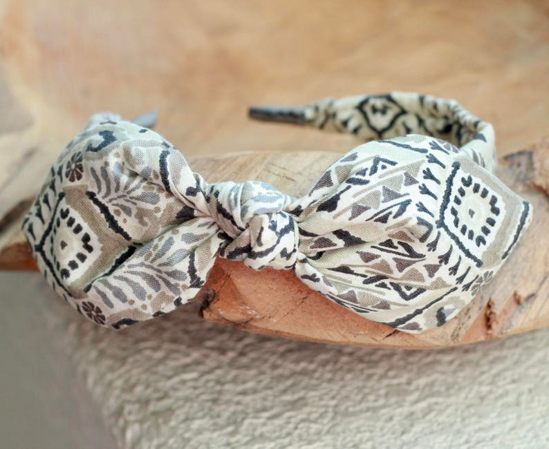 Headband with Bow Native Print Bow Headband Hair Accessory image 0