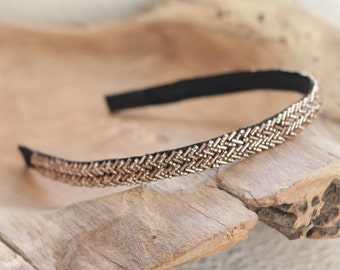 Bronze Beaded Headband, Sparkly Headband for Women