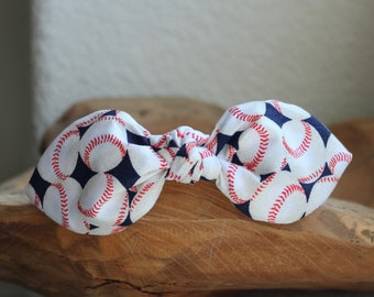 Baseball Headband, Bow Headband, Headband with Wire, Womens Headband, Team Mom Headband, Spring Headband, Adult Headband