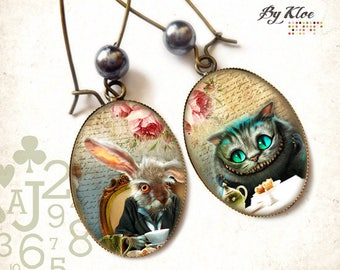 Earrings Cabochon • Alice in wonderland rabbit Cheshire Cat •
