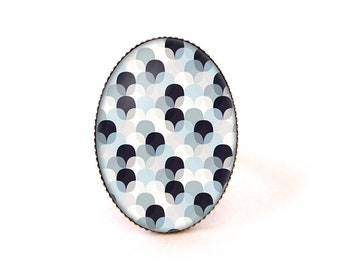 Ring cabochon • pop waves • white blue glass