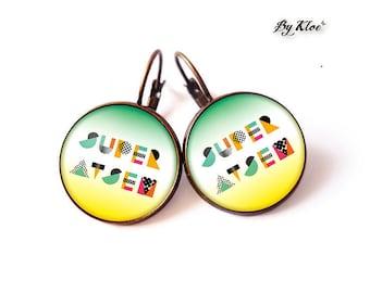 Earrings • Super School message personalized glass