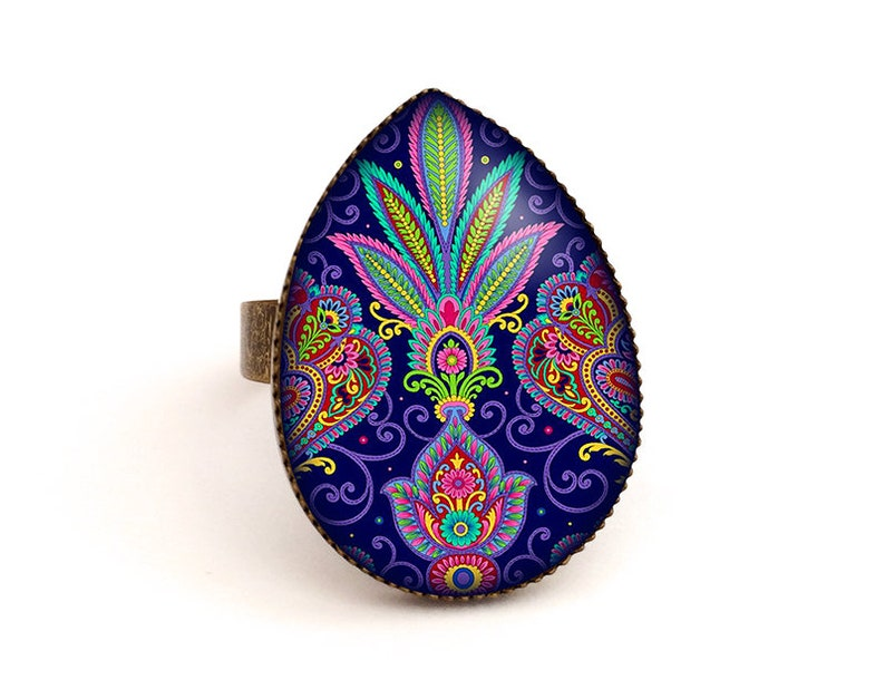 ring cabochon ring jewellery ring women ring oriental blue ring blue jewelry ring flower, jewelry riental Ring