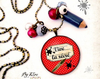 Necklace Cabochon necklace • Vive recess • polka dot back school slate black red beige writing Center recess