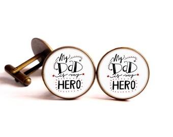 Cabochon cuff links-My dad is my hero customizable bronze glass • •