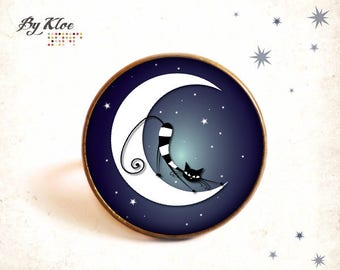 Ring cabochon • cat and Moon • Star night black white blue stripes
